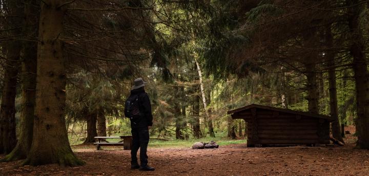 vandretur og overnatning i skoven ved shelter