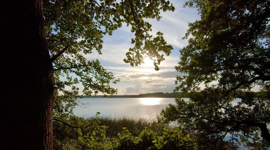 udsigt over esrum sø og solnedgang